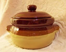 Bean Pot Glazed Stoneware Bean Pot Crock & Lid Vintage Pottery