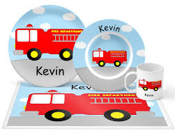 100 Fire Truck Plates Plate Set Personalized Kids Plate Bowl Mug Placemat