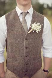 New Fashion Brown Tweed Vests Wool Herringbone British Style Custom Made Mens Suit Tailor Slim Fit Blazer Wedding Suits For Men P2