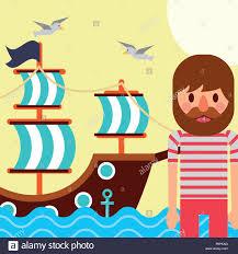 100 Design A Pirate Ship Nautical Maritime Design Pirate Ship Sea Gulls Flying Vector