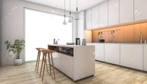 3d rendering weiße moderne küche mit holz bar