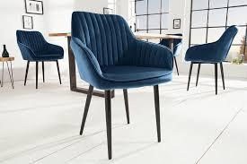 edler design stuhl turin samt königsblau mit armlehne esszimmerstuhl konferenzstuhl