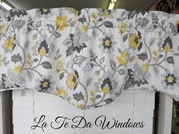 window treatment valance gray yellow charcoal by latedawindows