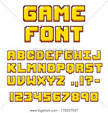 Pixel Video Game Font 8 bit Vector &