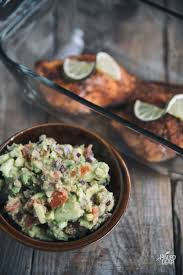 cuisine preparation baked salmon with bacon avocado salsa paleo leap