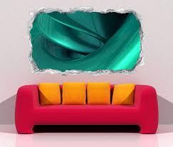 3d wandtattoo durchbruch 3d effekt spirale metall türkis abstrakt kunst textur muster wand aufkleber wanddurchbruch sticker selbstklebend wandbild