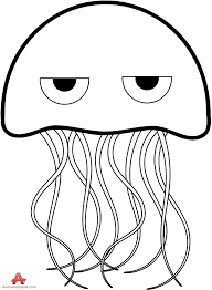 Jellyfish clipart line drawing 15