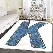 Letter K Dining Room Home Bedroom Carpet Floor Mat Alphabet Font Denim Style Blue Jean Texture