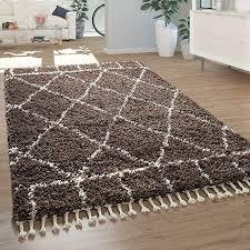 paco home shaggy teppich braun hochflor wohnzimmer berber