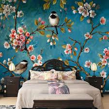 foto tapete 3d stereo chinesischen blumen vögel wandbild schlafzimmer wohnzimmer neue design textur tapete papel de parede floral 3d