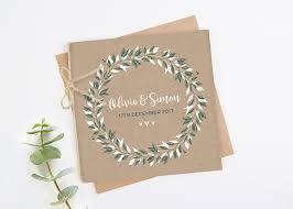 Botanical Rustic Kraft Folded Square Wedding Invite