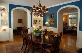 Blue Paint Colors For Dining Room With Wooden Table And Chair Sets