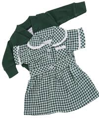 green summer uniform dress and cardigan for 12 14 inch
