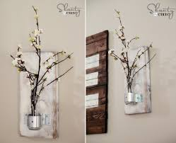 Decorative Wall With Rustic Indoor Cherry Blossom Flower Vase DIY Vintage Decor