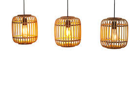 pendelleuchte 3 flammig bambusschirm holzfarben len leuchten innenleuchten pendelleuchten höffner
