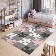 teppich kurzflor rosa grau weiß modern puzzle design kinderzimmer jugendzimmer wohnzimmer schlafzimmer spielteppich ökotex