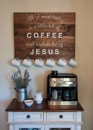 Items Similar To Coffee And Jesus Sign With Antique Brass Cup Hooks