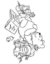 Winnie The Pooh Sleeping With Birds Coloring Page