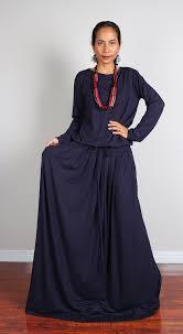 maxi dress long sleeve navy blue modest dress modest