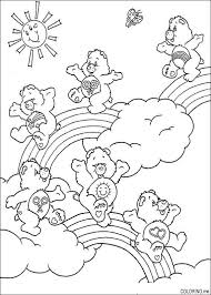 Coloring Page Care Bears Jumping On Clouds