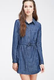 forever 21 buttoned denim shirt dress in blue lyst