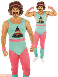 Mens 80s Fitness Instructor Costume Adult 90s Mr