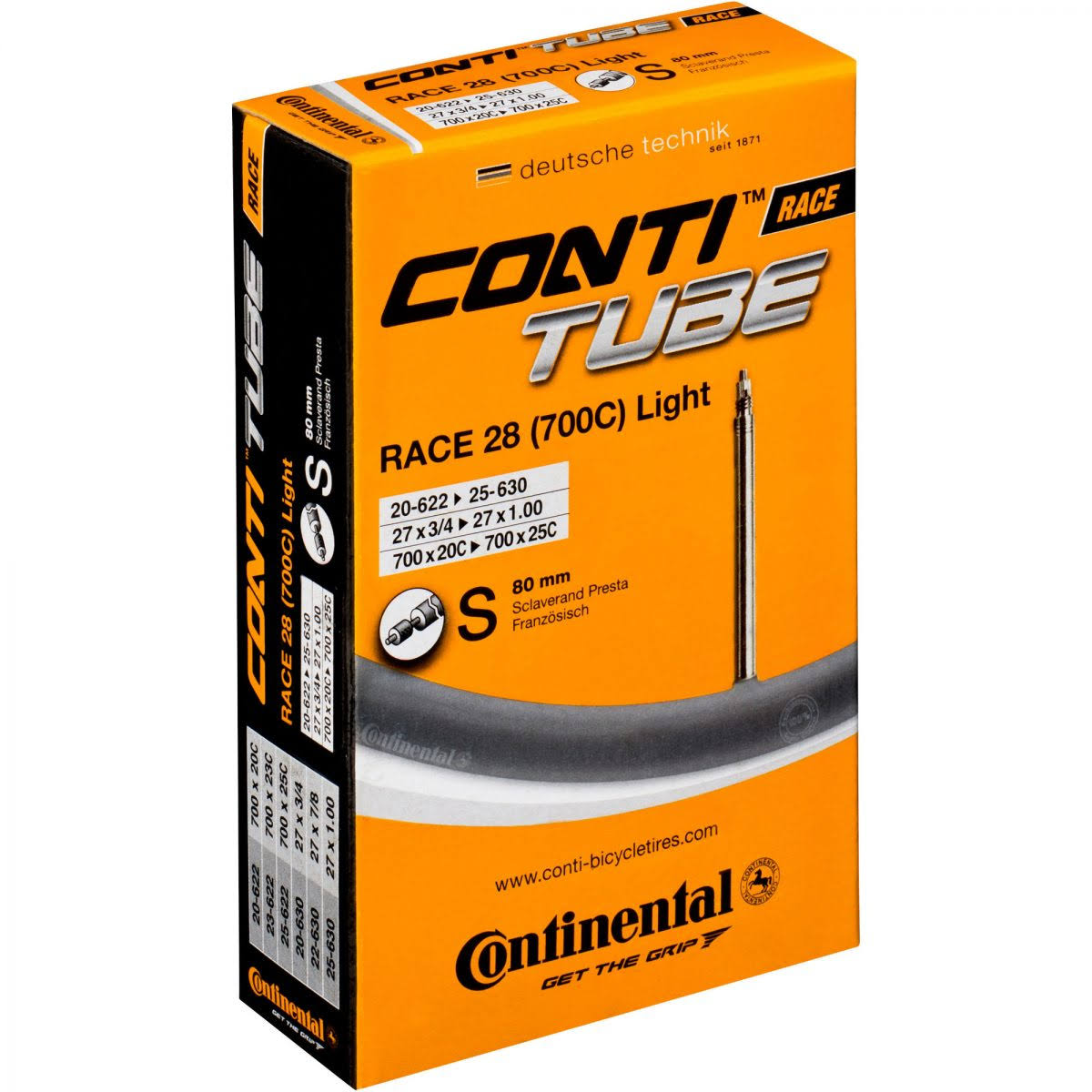 Continental Light Presta Valve Tube - 80mm, Black, 700 x 18-25cc