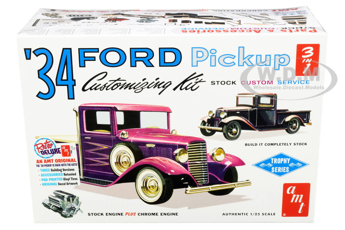 Amt 1934 Ford Pickup Truck Plastic Model Kit - 1:25 Scale