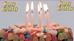 Happy Birthday cake with blowing candles