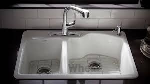 Kohler Whitehaven Sink Accessories by Kohler Kitchen Products Wheatland Cast Iron Sink Youtube