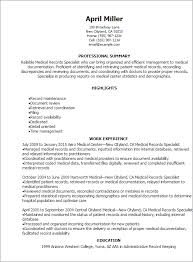 1 Medical Records Specialist Resume Templates Try Them Now Cover Letter Printable