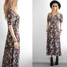 90s Floral Dress Grunge Long Rayon Maxi Fl