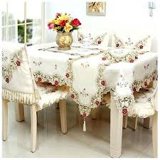 Dining Table Cloth Beige Pastoral Embroidered Linens Chair Cover Set Runner Pillowcase Tissue