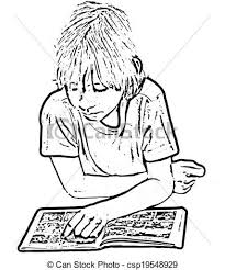 Child reading ic book Drawing of a child reading a ic
