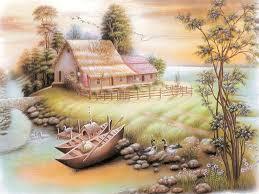 Art Painting Beautiful Home Boat Lake Birds Hd Wallpaper