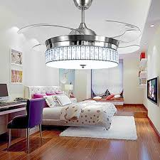 RS Lighting Crystal Ceiling Fans With Light And Remote Retractable 4 Acrylic Blades Modern Style Decorative