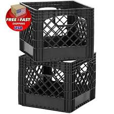 Authentic Commercial Grade Classic Milk Crate Plastic Storage Black 2pk New