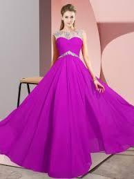 20476 8597 Fuchsia Chiffon Clasp Handle Prom Gown Sleeveless Floor Length Beading