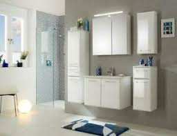 details zu badezimmermöbel badmöbel set 6teilige weiß hochglanz led beleuchtung montiert