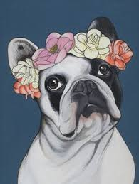 Flowers In Her Hair French Bulldog By TheDogPaintersStudio