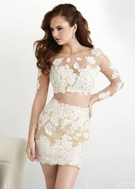 fitted ivory piece beaded long sleeves cocktail dress