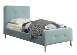 Barney Transitional Light Blue Twin Size Button Tufted Platform Bed