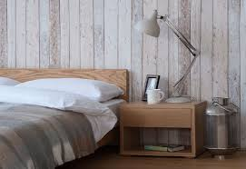 BedroomVintage Scandinavian Bedroom Style With Oak Wood Bed Frame Also Cube Nightstand Table