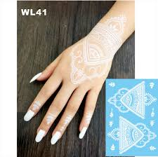 WL 41 Beautiful White Henna Temporary Tattoo Hand Decoration Sticker For Daily Makeup Or