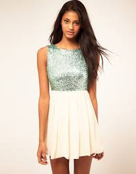 tfnc london babydoll dress with sequin bodice in pink lyst
