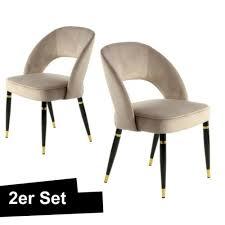 samt stuhl beige gold 2er set klassisch esszimmer stühle