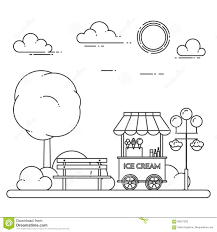 City Landscape With Bench, Ice Cream Truck In Central Park. Vector ...