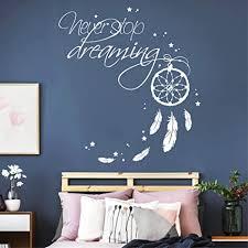 wandtattoo schriftzug never stop dreaming mit traumfänger weiß 115 x 126 cm