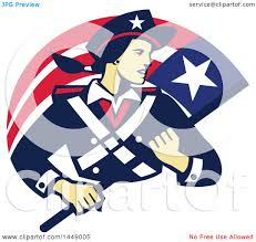 Clipart Graphic Of A Retro Female American Patriot Minuteman Revolutionary Soldier With Flag Banner