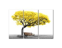 Canvas Wall Art Pictures For Home Decor Yellow Tree Park Bench In Black And White 3